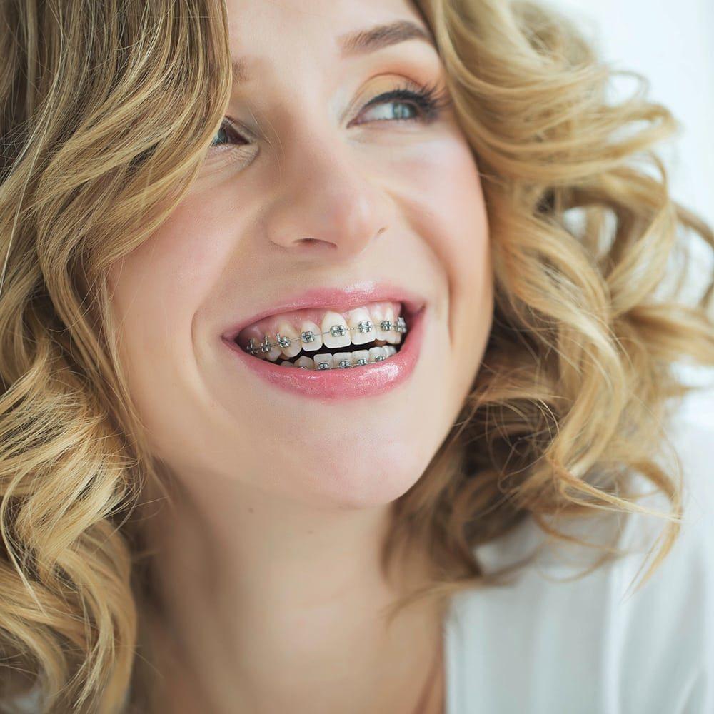 Woman in braces